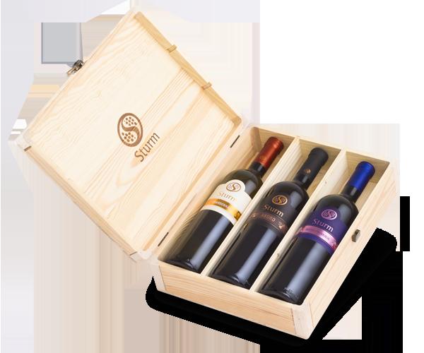 Vina Šturm - lesena embalaža za vino 3 x 1.5L