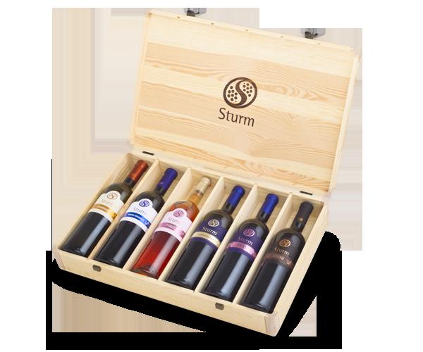 Vina Šturm - lesena embalaža za vino 6 x 1.5L