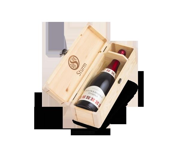 Vina Šturm - lesena embalaža za vino 1 x 0.75L - penina