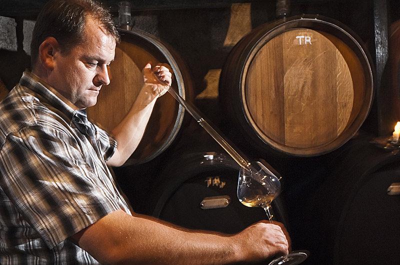 Otmar Oti Šturm v vinski kleti - natakanje iz soda